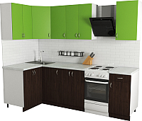 Готовая кухня Хоум Лайн Агата 1.2x2.0 (венге/зеленая мамба) -
