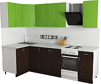 Готовая кухня Хоум Лайн Агата 1.2x2.1 (венге/зеленая мамба) -