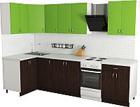 Готовая кухня Хоум Лайн Агата 1.2x2.4 (венге/зеленая мамба) -