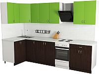 Готовая кухня Хоум Лайн Агата 1.2x2.5 (венге/зеленая мамба) -