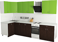 Готовая кухня Хоум Лайн Агата 1.2x2.6 (венге/зеленая мамба) -