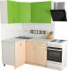 Готовая кухня Хоум Лайн Агата 1.2x1.4 (дуб молочный/зеленая мамба) -