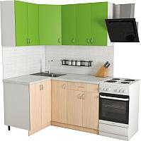 Готовая кухня Хоум Лайн Агата 1.2x1.5 (дуб молочный/зеленая мамба) -