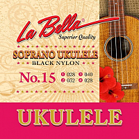 Струны для укулеле La Bella Ukulele 15 / 028-032-040-028 (черный нейлон) -
