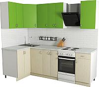 Готовая кухня Хоум Лайн Агата 1.2x1.9 (файнлайн крем/зеленая мамба) -