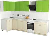 Готовая кухня Хоум Лайн Агата 1.2x2.6 (файнлайн крем/зеленая мамба) -