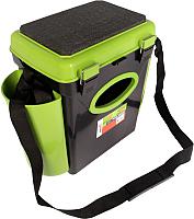 Ящик рыболовный Helios FishBox односекционный (10л, черный/зеленый) -