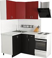 Готовая кухня Хоум Лайн Агата 1.2x1.2 (черный/красный) -