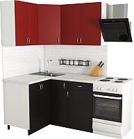 Готовая кухня Хоум Лайн Агата 1.2x1.4 (черный/красный) -