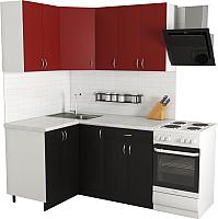 Готовая кухня Хоум Лайн Агата 1.2x1.5 (черный/красный) -