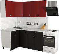 Готовая кухня Хоум Лайн Агата 1.2x1.8 (черный/красный) -
