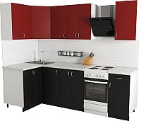 Готовая кухня Хоум Лайн Агата 1.2x2.0 (черный/красный) -