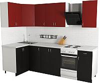 Готовая кухня Хоум Лайн Агата 1.2x2.1 (черный/красный) -