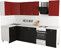 Готовая кухня Хоум Лайн Агата 1.2x2.3 (черный/красный) -