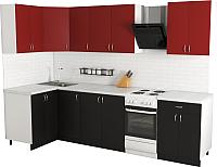 Готовая кухня Хоум Лайн Агата 1.2x2.4 (черный/красный) -