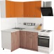 Готовая кухня Хоум Лайн Агата 1.2x1.5 (ясень шимо темный/оранжевый) -