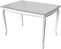 Обеденный стол Аврора Кабриоль 120x80 (Тон 16/эмаль белая/серебристый) -