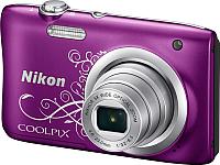 Компактный фотоаппарат Nikon Coolpix A100 (фиолетовый с рисунком) -