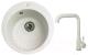 Мойка кухонная Gerhans A04 + смеситель HU01K4698-18 (белый) -