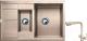 Мойка кухонная Gerhans C10 + смеситель HU01K4055-3-21 (песочный) -