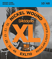 Струны для электрогитары D'Addario EXL110 Regular Light 10-46 (никель) -