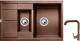 Мойка кухонная Gerhans C10 + смеситель HU01K4698-23 (терракот) -
