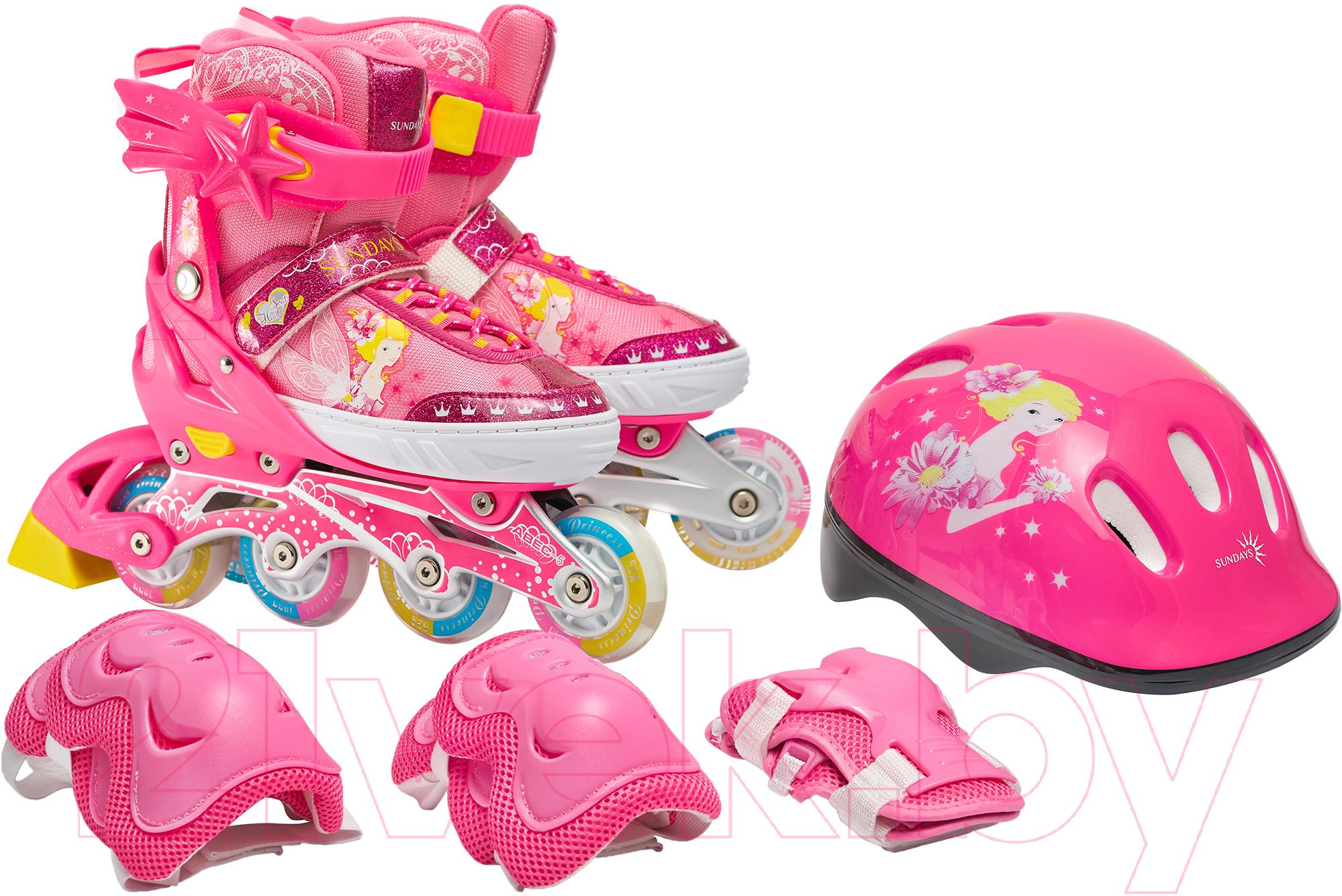 Купить Роликовые коньки Sundays, PW-153B-5D (XS, set pink), Китай, розовый
