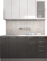 Готовая кухня Интерьер центр Олива 1.8 (черный/белый) -