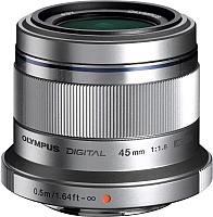 Стандартный объектив Olympus М.Zuiko Digital 45mm f1.8 (серебристый) -