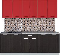 Готовая кухня Интерлиния Мила Лайт 2.2 (красный/дуб венге) -