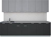 Готовая кухня Интерлиния Мила Лайт 2.8 (серебро/антрацит) -