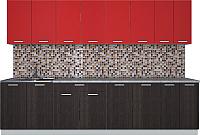 Готовая кухня Интерлиния Мила Лайт 3.0 (красный/дуб венге) -