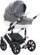 Детская универсальная коляска Tutis Mimi Style белая рама 3 в 1 (серый лен/белый горох/кожа) -