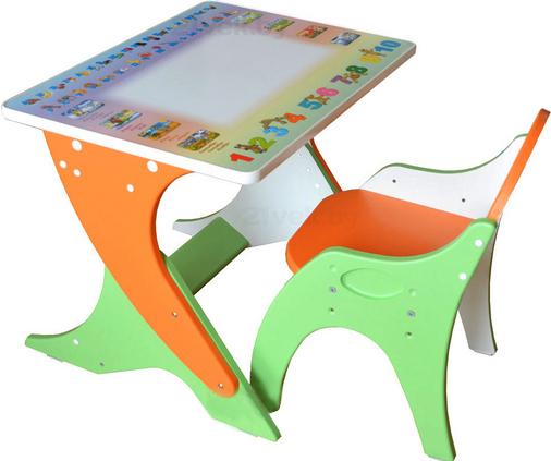 Купить Комплект мебели с детским столом Интехпроект, Зима-лето 14-354 (эвкалипт и оранжевый), Россия