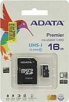 Карта памяти A-data Premier microSDHC UHS-I U1 (10 Class) 16 Gb (AUSDH16GUICL10-RA1) -