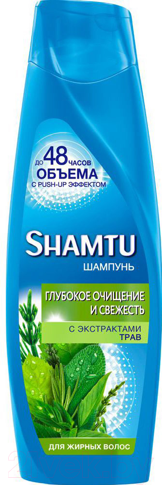 Купить Шампунь для волос Shamtu, Глубокое очищение и свежесть с экстрактами трав для жирных волос (360мл), Россия