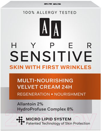 Купить Крем для лица AA, Hypersensitive мультипитательный смягчающий 24h для кожи (50мл), Польша