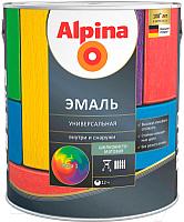 Эмаль Alpina Универсальная (750мл, черный шелковисто-матовый) -