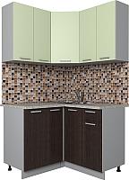 Готовая кухня Интерлиния Мила Лайт 1.2x1.2 (салатовый/дуб венге) -