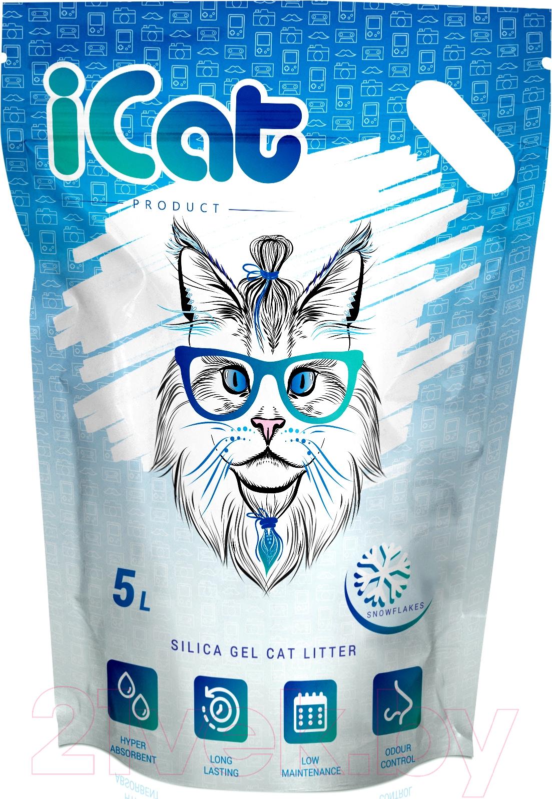 Купить Наполнитель для туалета iCat, Snow Flakes силикагелевый (5л), Китай