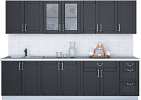 Готовая кухня Интерлиния Мила Крафт 2.8Б (дуб английский) -