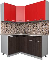 Готовая кухня Интерлиния Мила Лайт 1.2x1.6 (красный/дуб венге) -