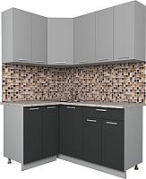 Готовая кухня Интерлиния Мила Лайт 1.2x1.6 (серебро/антрацит) -