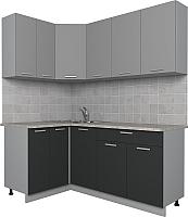 Готовая кухня Интерлиния Мила Лайт 1.2x1.8 (серебро/антрацит) -