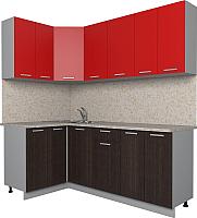 Готовая кухня Интерлиния Мила Лайт 1.2x2.0 (красный/дуб венге) -