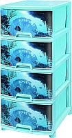 Комод пластиковый Эльфпласт Подводный мир №12 (бирюзовый) -