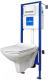 Унитаз подвесной с инсталляцией Cersanit Carina New Clean On (S-SET-CARC/LPRO/S-DL/Pi-Wg-w) -