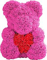 Мишка из роз No Brand Rose Bear с сердцем / 8007 (40см, розовый/красный) -