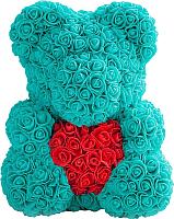 Мишка из роз No Brand Rose Bear с сердцем / 8006 (40см, голубой/красный) -