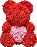 Мишка из роз No Brand Rose Bear с сердцем / 8009 (40см, красный/розовый) -
